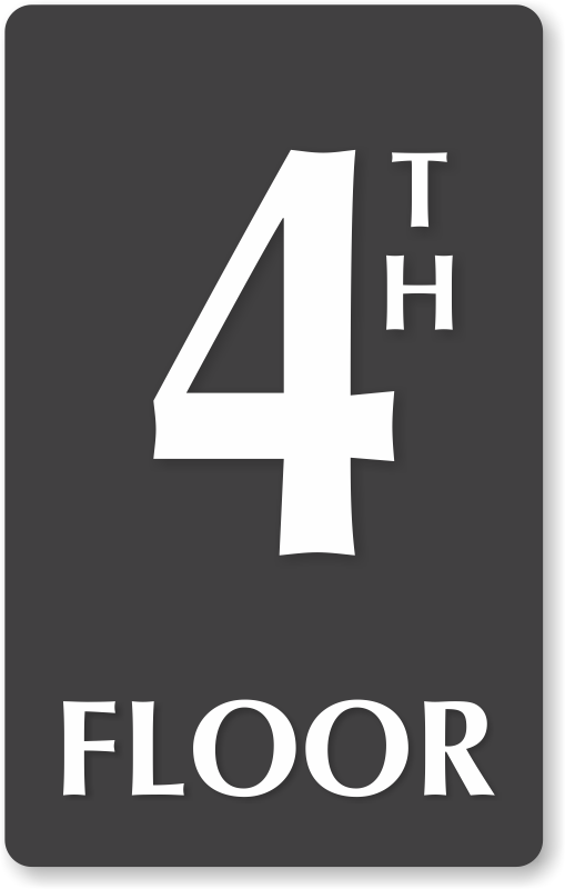 4th floor number engraved sign ship for free sku se 5838. Black Bedroom Furniture Sets. Home Design Ideas