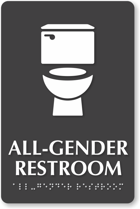 All Gender Restroom Braille Sign Toilet Bowl Symbol