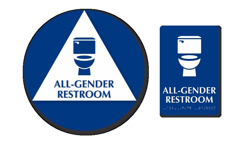 Bathroom Signs California california wall door all-gender restroom 2 signs/kit, sku - se-6071