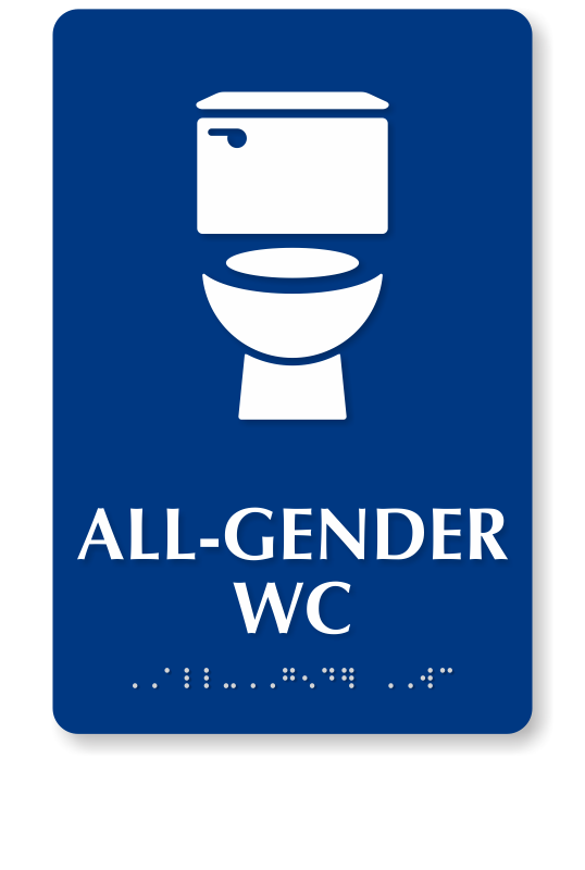 All Gender WC Braille Restroom Sign With Toilet Symbol