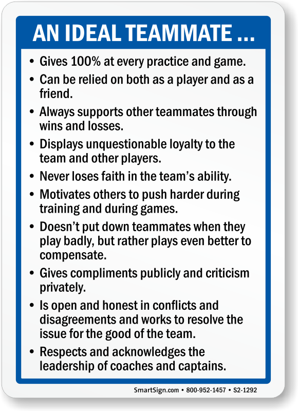 Sports Etiquette Signs - How to be a Good Teammate and Parent