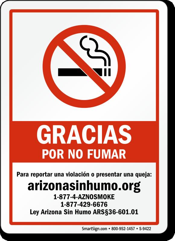Arizona Gracias Por No Fumar Spanish Signs Sku S 9422