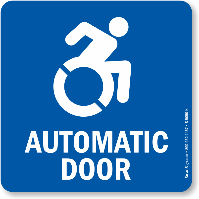 automatic door with updated accessible symbol sign sku s 5090 n