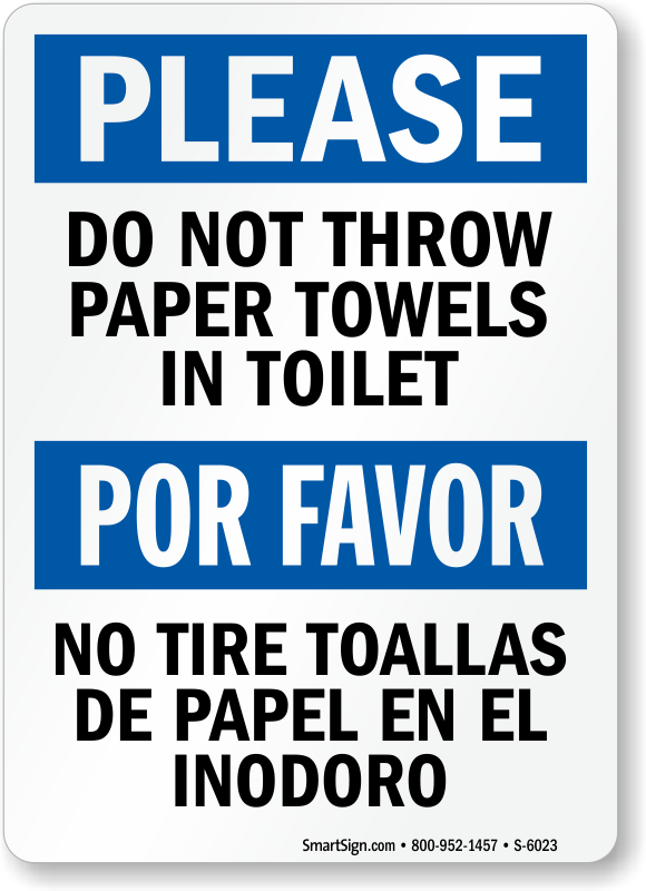 Bathroom Signs Do Not Flush no waste in toilet signs