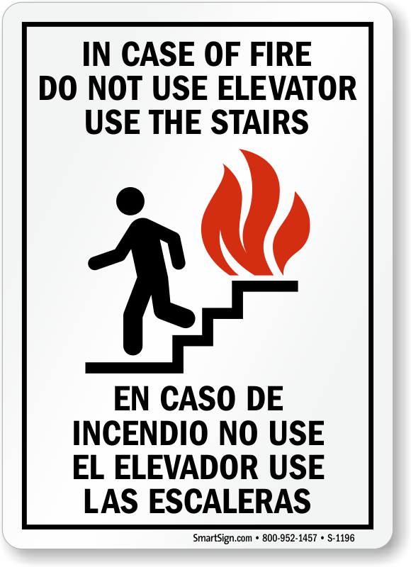 In Case Of Fire Bilingual Signs