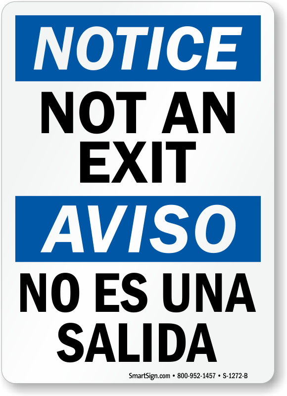 Printable Not An Exit Sign