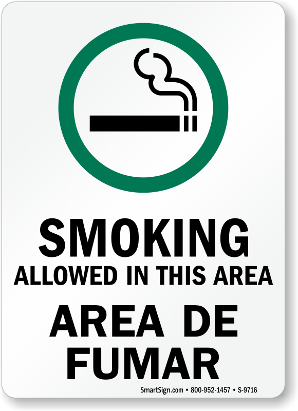 Bilingual Smoking Allowed In This Area Sign Sku S 9716
