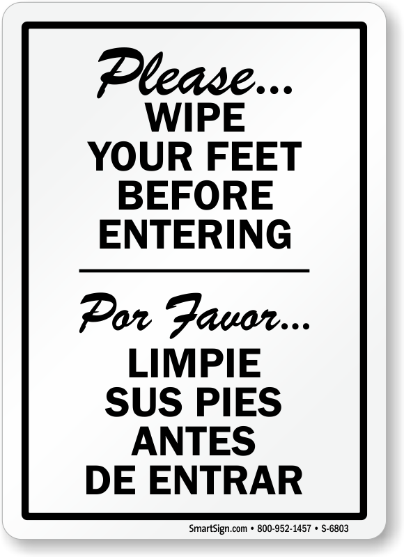 Wonderful Wipe Your Feet Signs VH82