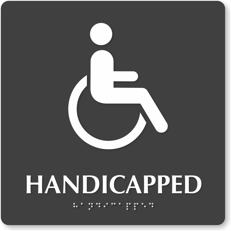 Bathroom Sign Handicap handicapped bathroom sign with braille, 9in. x 9in., sku - se-5769