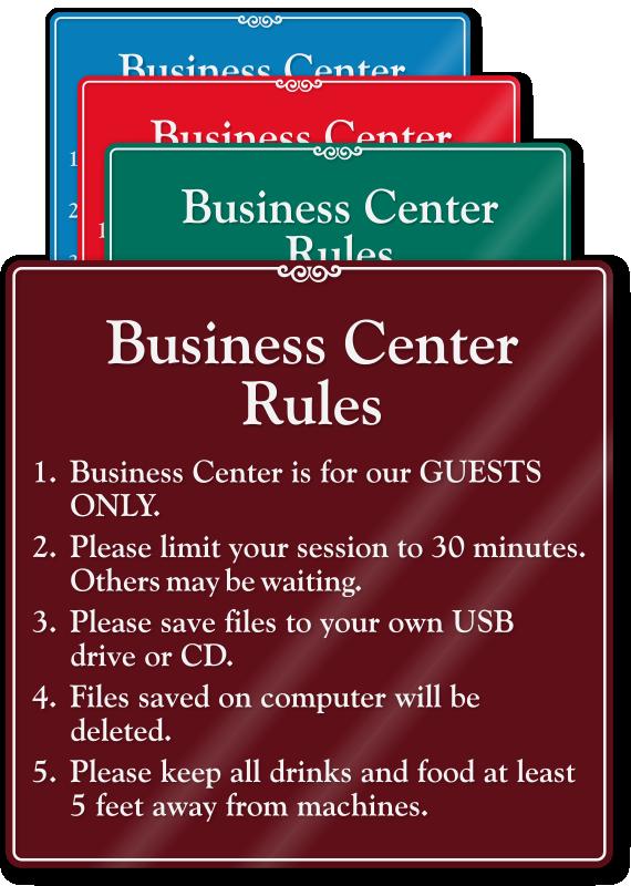 Business Center Rules Sign Sku Se 2471