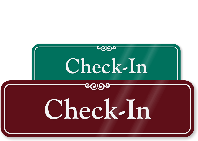 Check In Showcase Wall Sign Door Sign Online Sku Se 2664