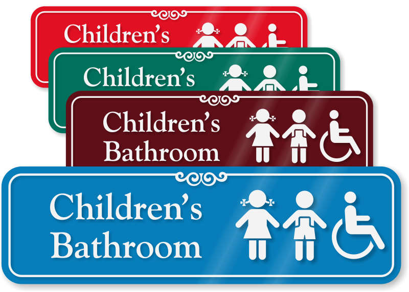 bathroom signs for kids children s bathroom sign with boy and handicap 16415