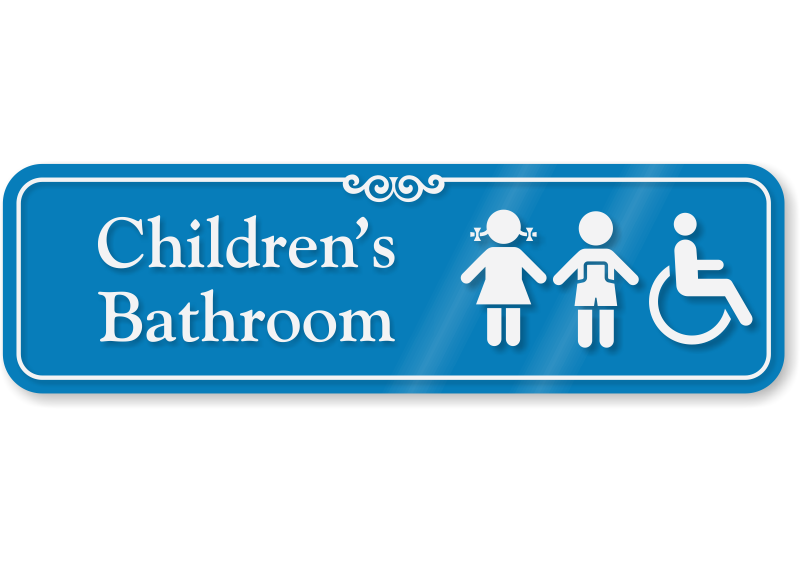 Childrens Bathroom Sign With Girl Boy And Handicap Symbols SKU - Handicap bathroom sign