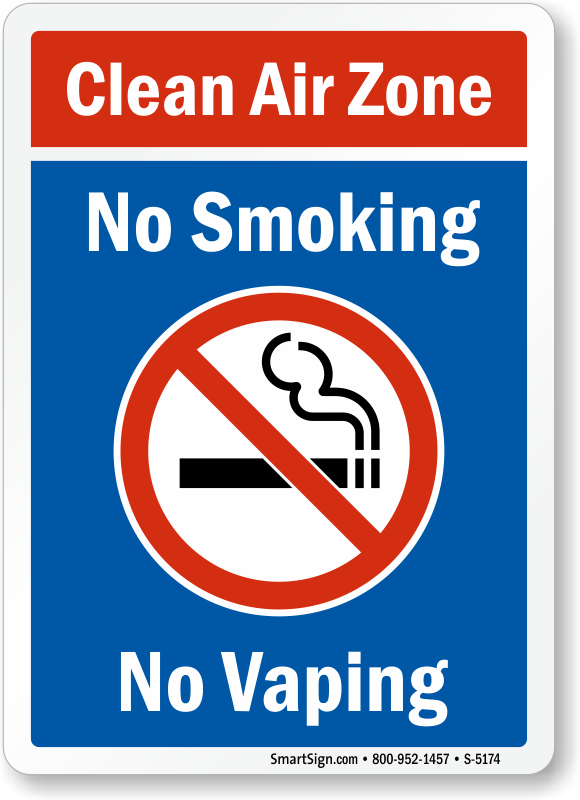Clean Air Zone - No Smoking, No Vaping Sign With Graphic