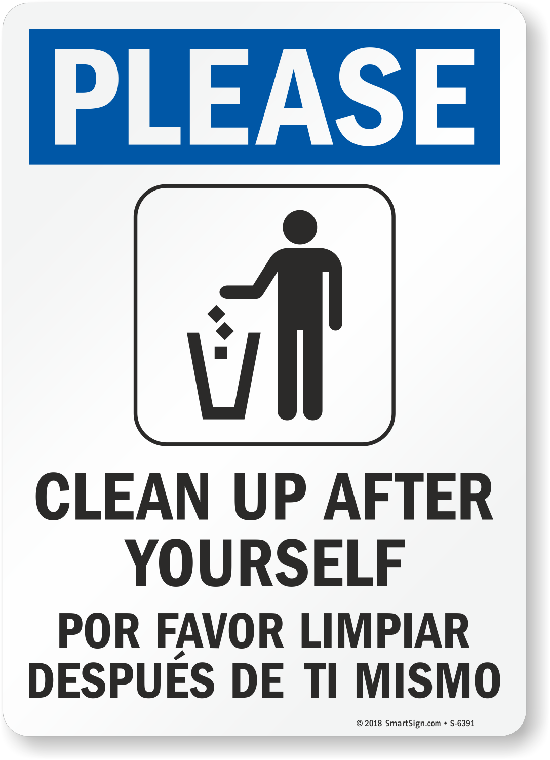Bathroom Signs To Clean Up After Yourself bilingual please clean up after yourself sign | best prices, sku