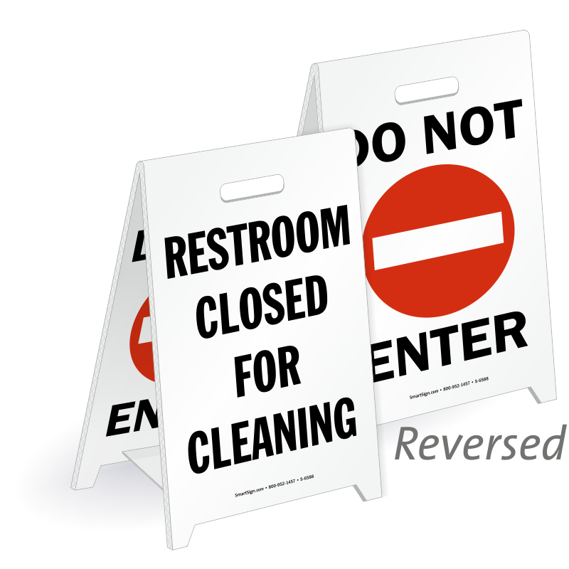 Restroom Closed For Cleaning Reversible Fold Ups Floor Sign. Restroom Closed Cleaning  Do Not Enter Reversible Floor Sign  SKU