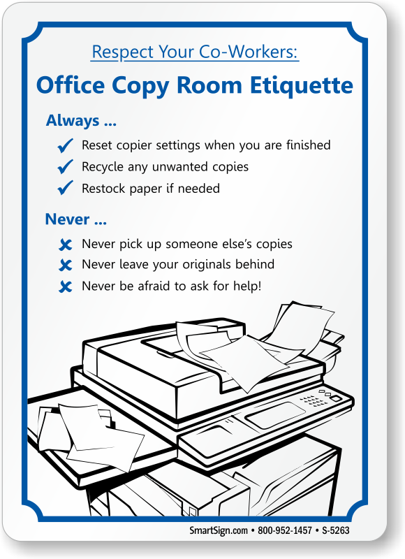 Office Courtesy Signs | Office Etiquette Signs