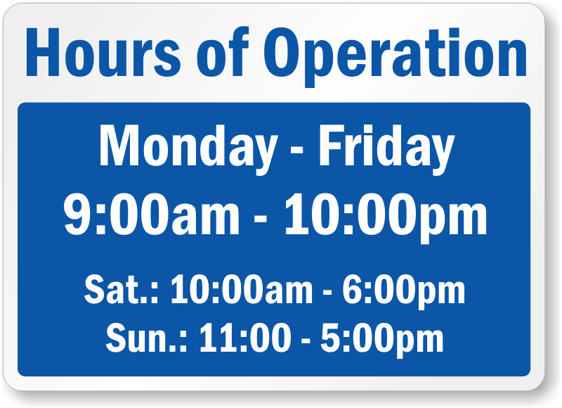 Office hour signs templates ukrandiffusion business hours signs accmission Images