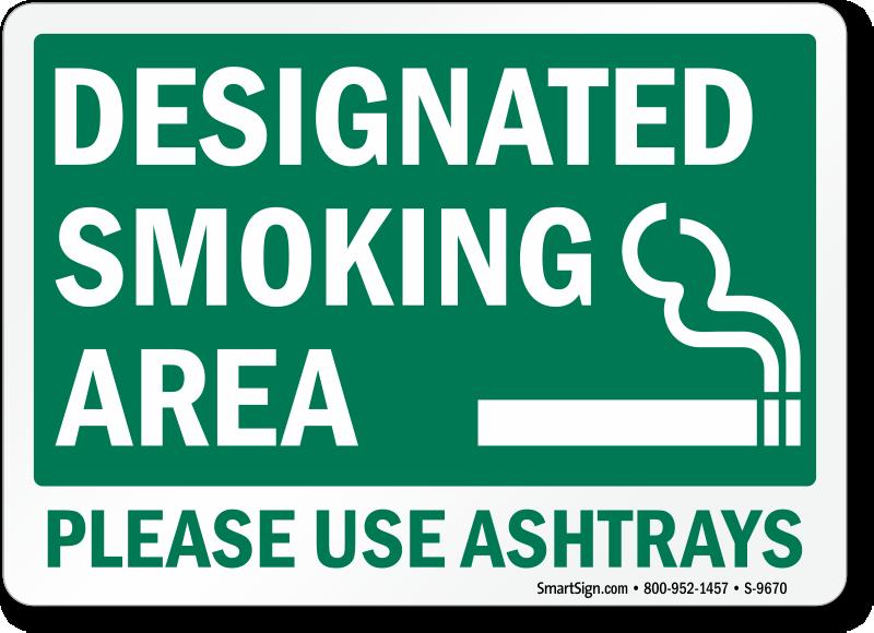 designated smoking area signs