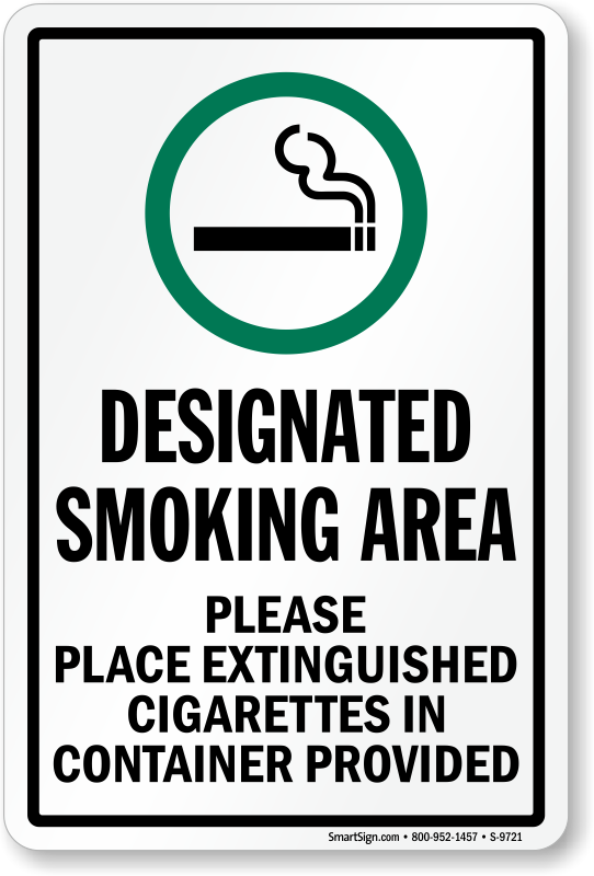 Designated Smoking Area Sign Place Cigarettes In
