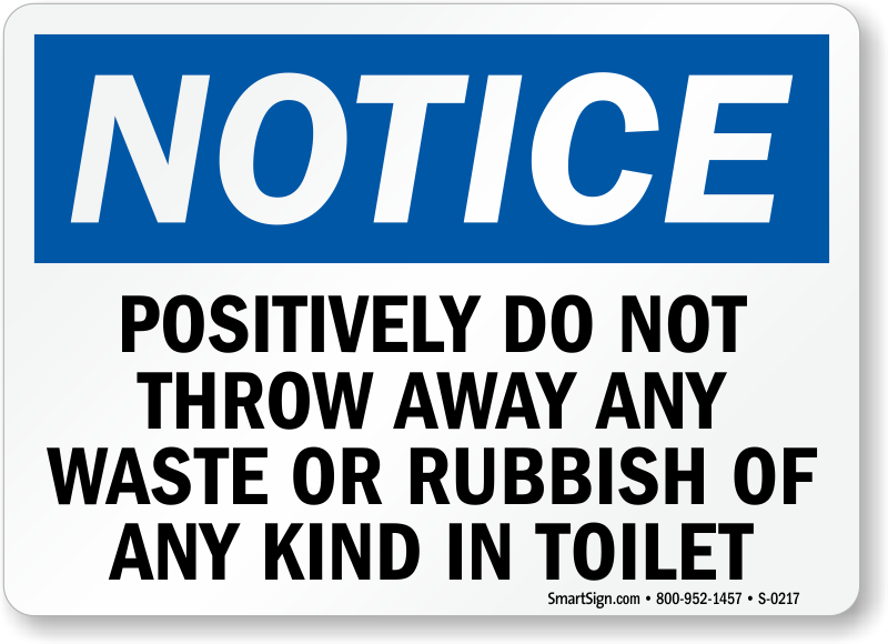 Do Not Throw Any Waste Or Rubbish In Toilet Sign Sku S 0217