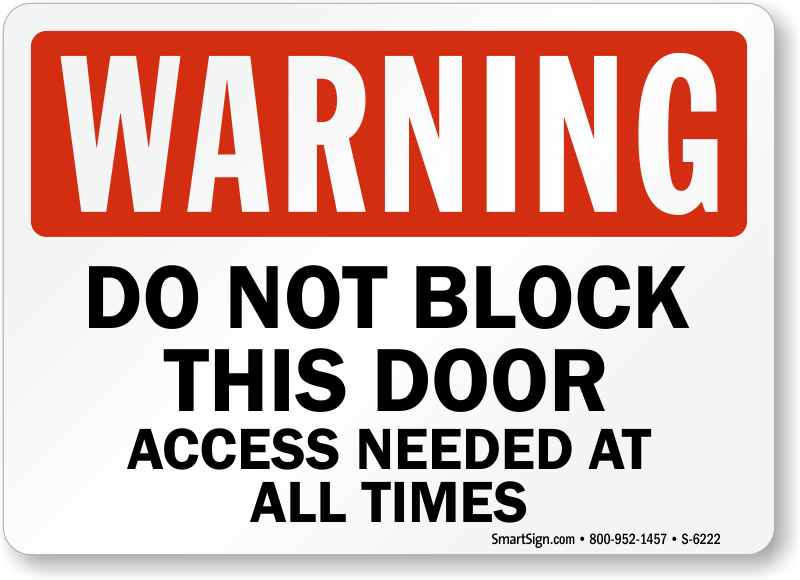 Zoom Price Buy  sc 1 st  MyDoorSign.com & Do Not Block Door Signs - Custom Fire Door Signs