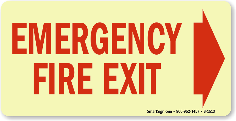 Emergency Fire Exit Right Arrow Signs Fire And Emergency