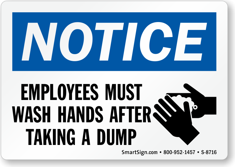 photograph relating to Wash Hands Sign Printable called Interest Staff members Should Clean Palms Following Using a Dump Signal