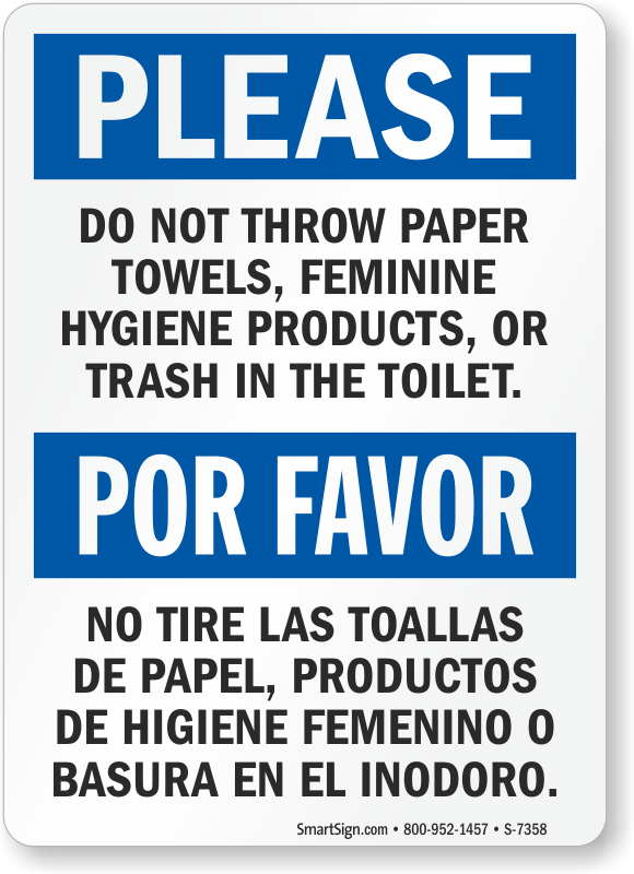 Bilingual Do Not Throw Paper Towels Or Trash In Toilet