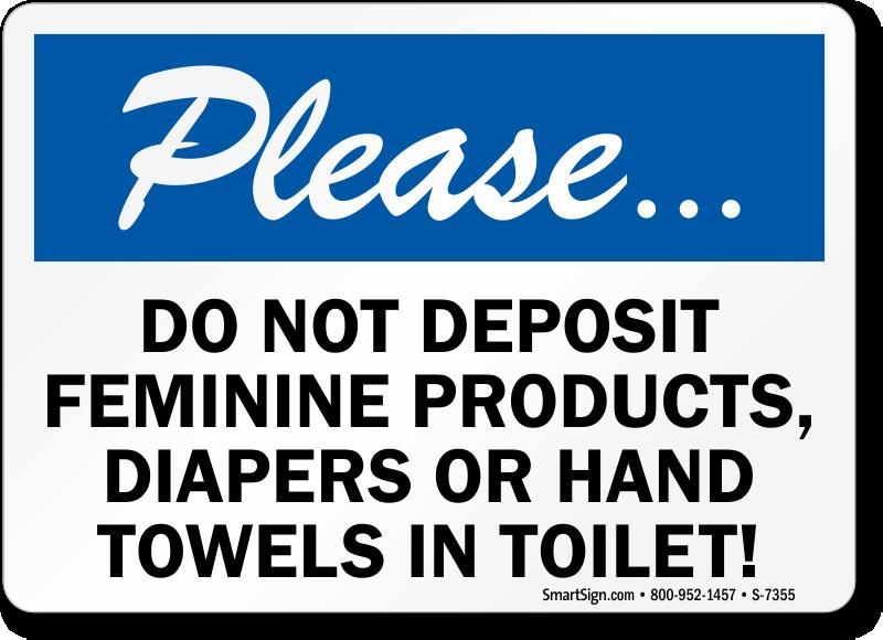 Please Do Not Deposit Trash In Toilet Sign | Free PDF, SKU ...