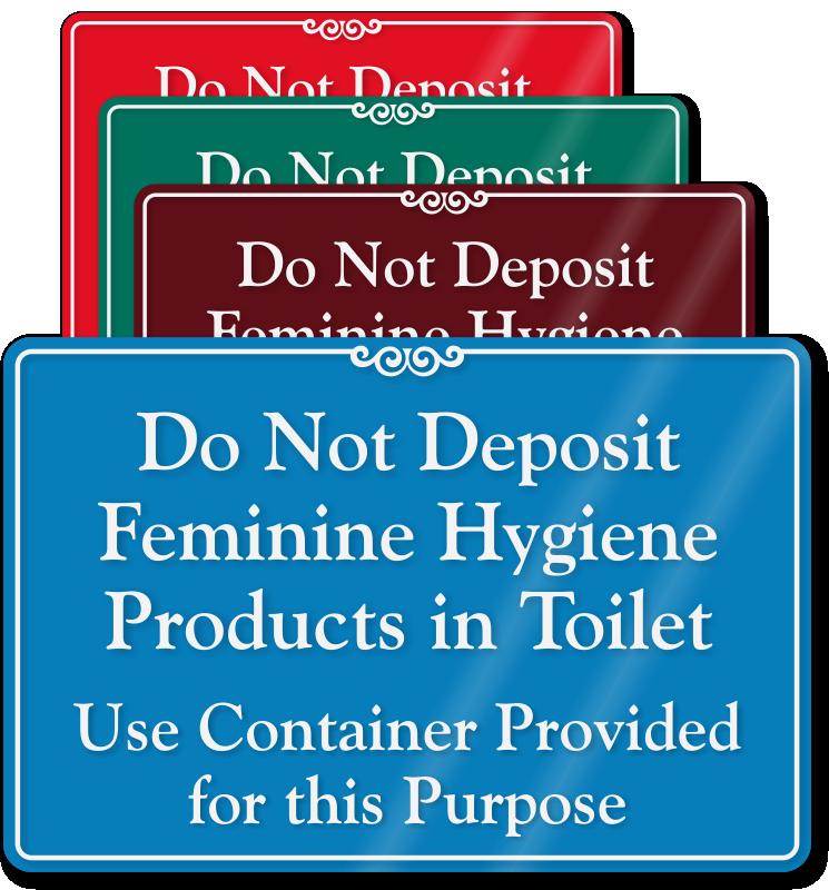 Bathroom Sanitation Signs: Do Not Deposit Sanitary & Trash