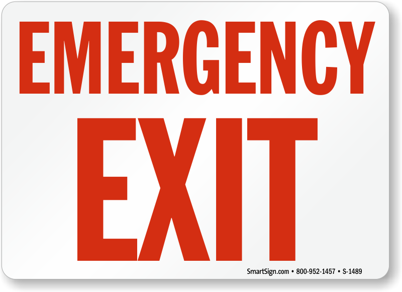 emergency exit signs fire and emergency signs sku s 1489. Black Bedroom Furniture Sets. Home Design Ideas
