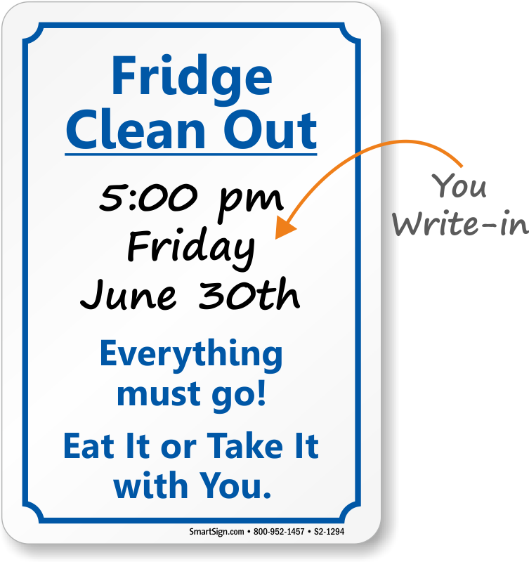 Fridge Clean Out Etiquette Sign Sku S2 1294