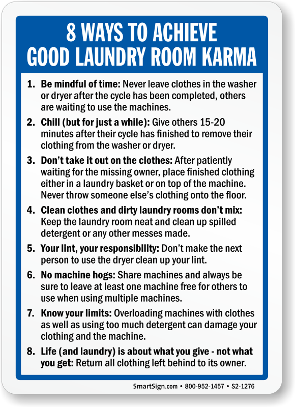 Good Laundry Room Karma Sign