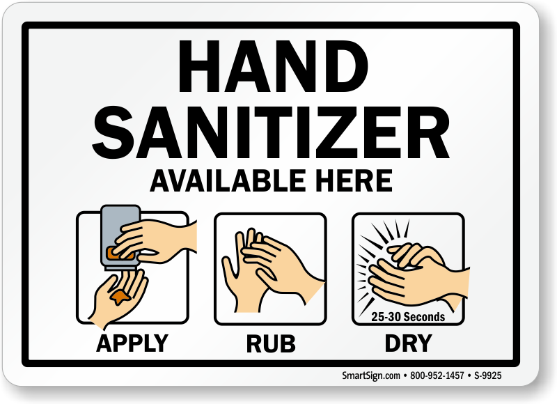 Hand sanitizer available here sign apply rub and dry sku s 9925 hand sanitizer available here sign pronofoot35fo Images