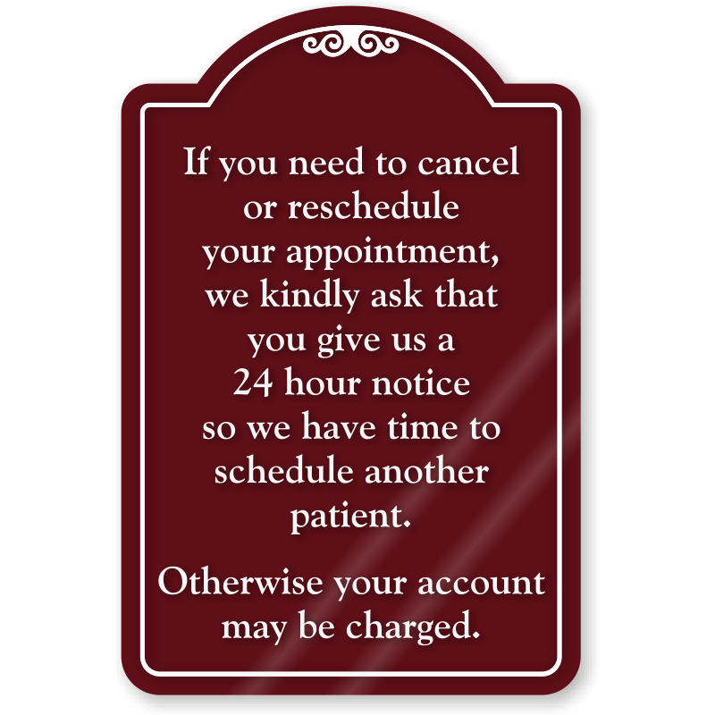 cancel or reschedule appointment showcase sign sku se 7058