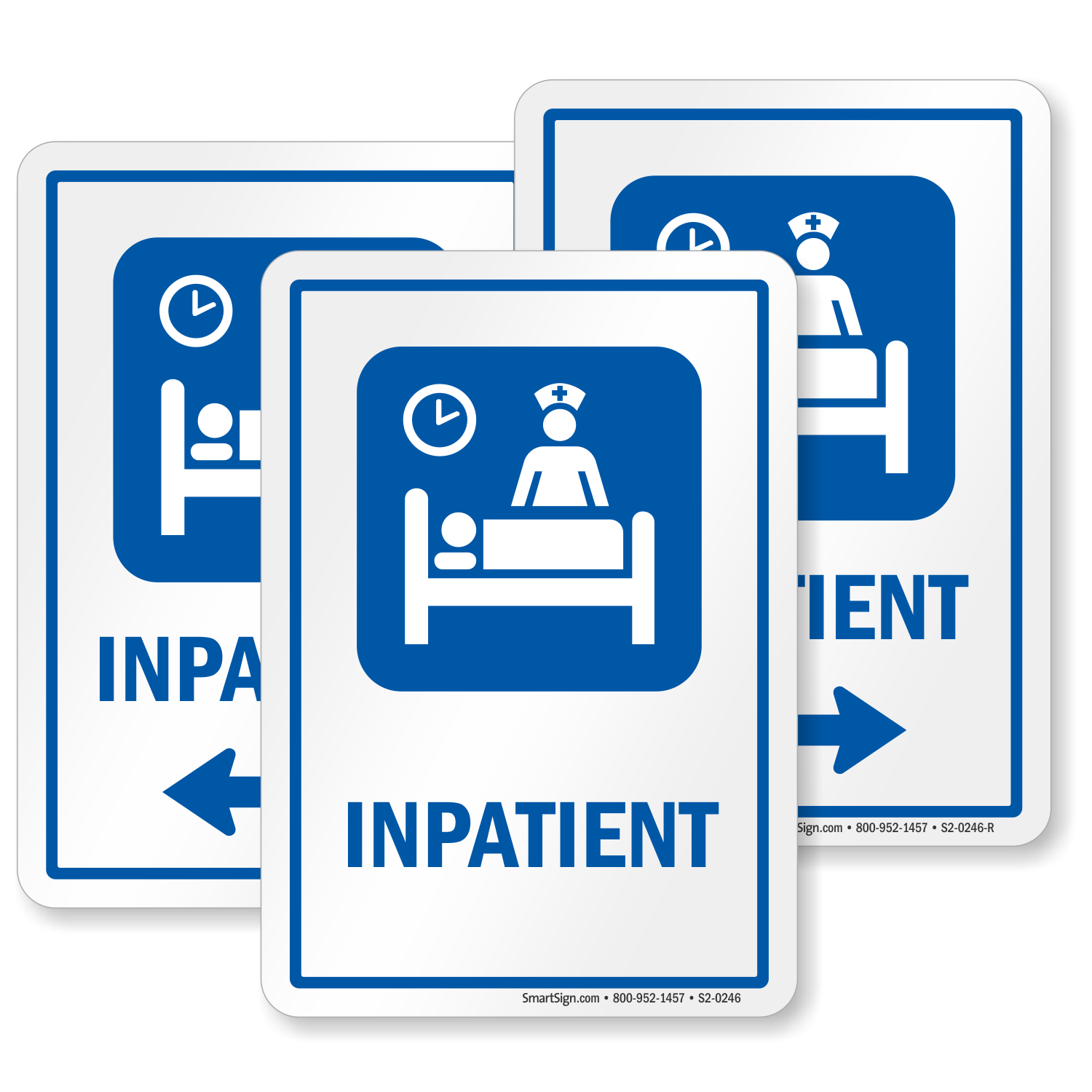 Inpatient Hospital Sign Patient On Bed And Nurse Symbol