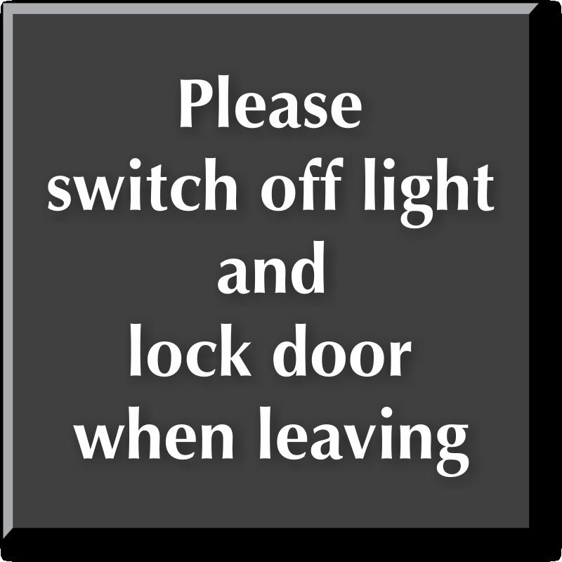 Switch Off Light And Lock Door Sign - Engraved Sign, SKU: SE-5708