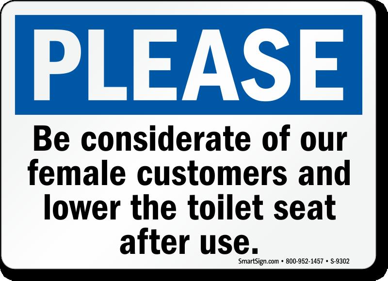 Bathroom Signs To Keep Clean toilet seat signs