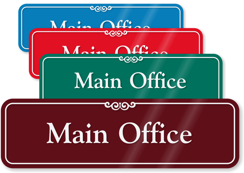 Main office showcase wall sign sku se 2426 - Glass office door signs ...