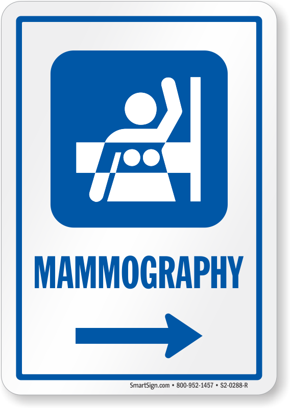 Mammography Right Arrow Hospital Sign Sku S2 0288 R