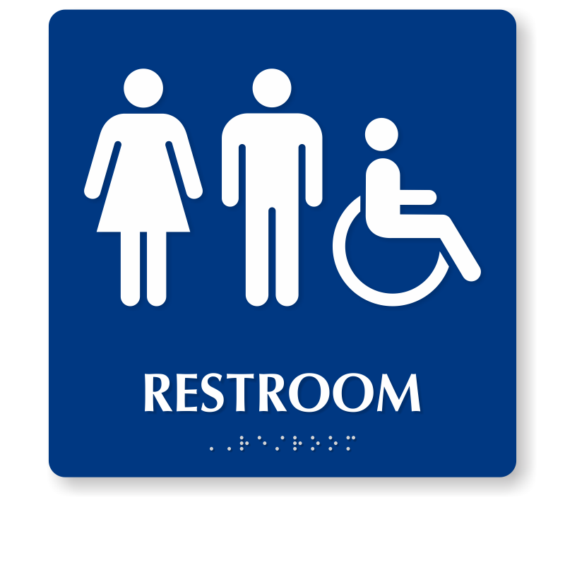 Bathroom Signs Braille braille restroom sign with male, female, accessible pictogram, sku