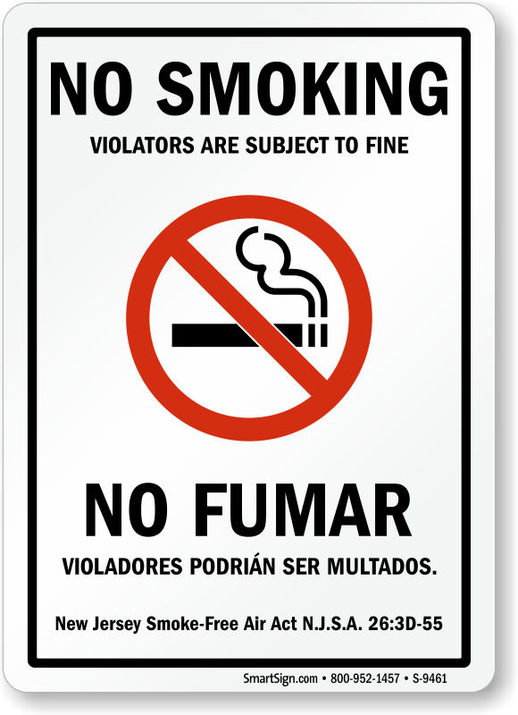 New Jersey No Smoking Signs Sku S 9461