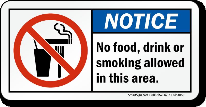 No Food Drink Smoking Notice Sign, SKU: S2-1053