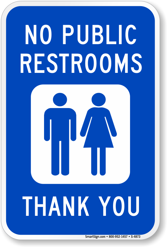 No Public Restrooms Thank You Sign With Graphic SKU S - Cheap bathroom signs