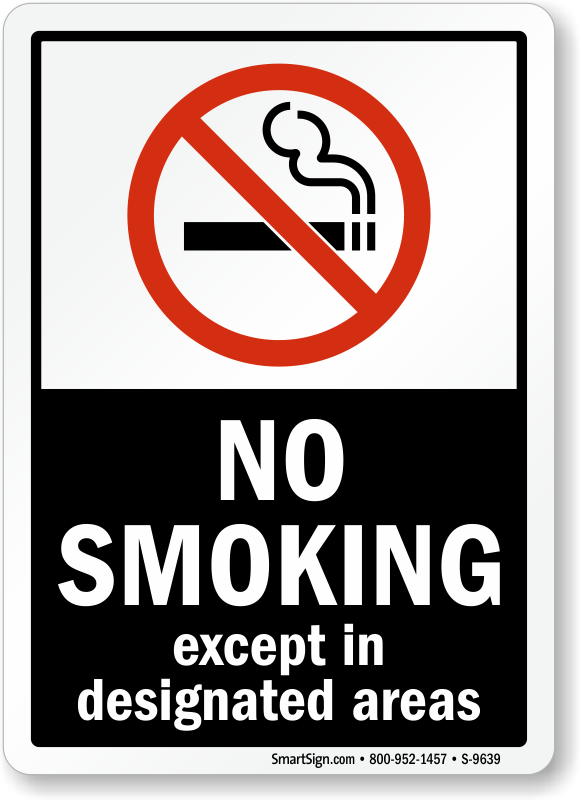 No Smoking Except Designated Area Label 5 X 7 To 7 X 10