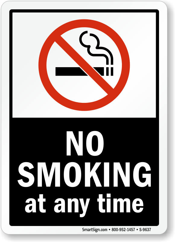 No Smoking Labels No Smoking At Any Time Sku S 9637
