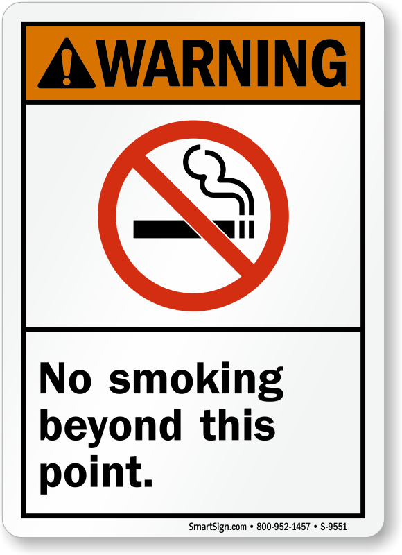 No Smoking Beyond This Point Signs Labels