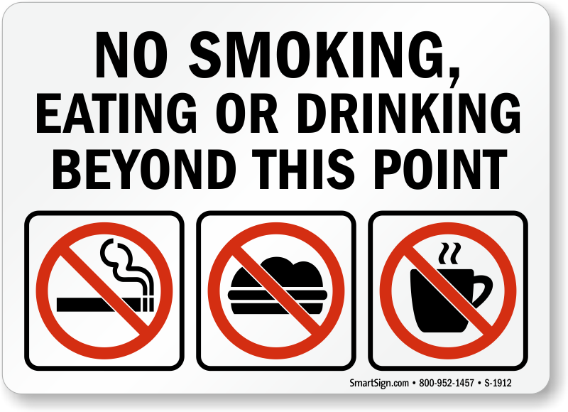 No Smoking Eating Drinking Beyond This Point Sign [Graphic