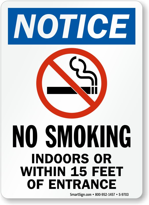 No Smoking Indoors Or Near Entrance Sign Sku S 9703